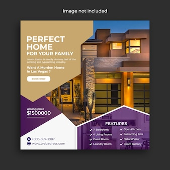 Banner de mídia social para venda de imóveis residenciais e modelo de postagem no instagram