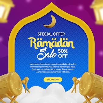 Banner de mídia social ramadan kareem com renderização 3d de lanterna dourada