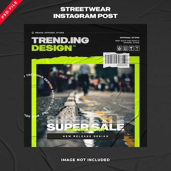 Banner de moda urbana de streetwear modelo de postagem no instagram