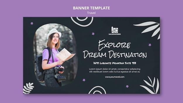 Banner de modelo de agência de viagens