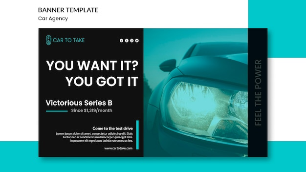 Banner de modelo de anúncio de agência automóvel