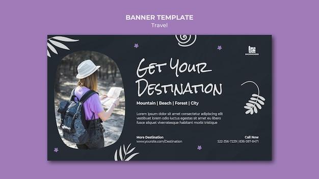 Banner de modelo de anúncio de agência de viagens