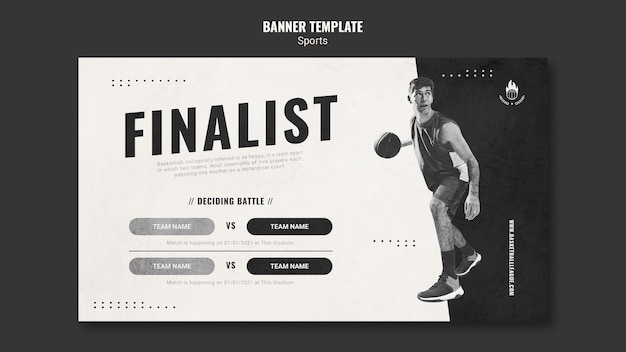 Banner de modelo de anúncio de basquete