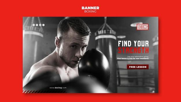 Banner de modelo de anúncio de boxe