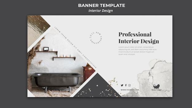 Banner de modelo de anúncio de design de interiores