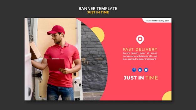 Banner de modelo de anúncio de empresa de entrega
