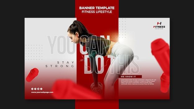 Banner de modelo de anúncio de estilo de vida de fitness