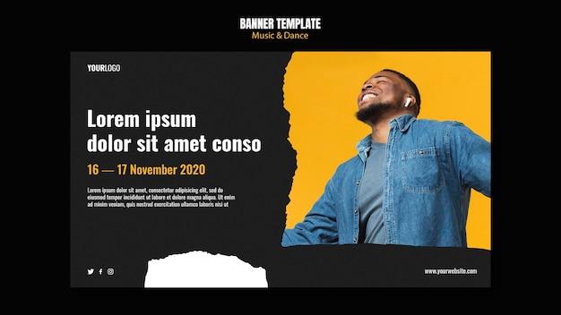 Banner de modelo de anúncio de evento de música e dança