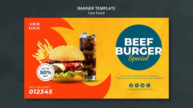 Banner de modelo de anúncio de fast food