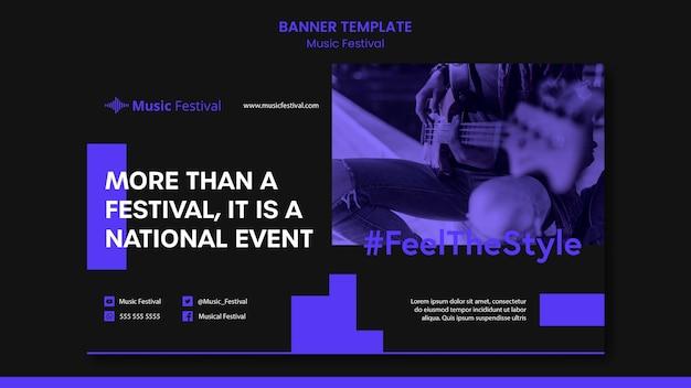 Banner de modelo de anúncio de festival de música