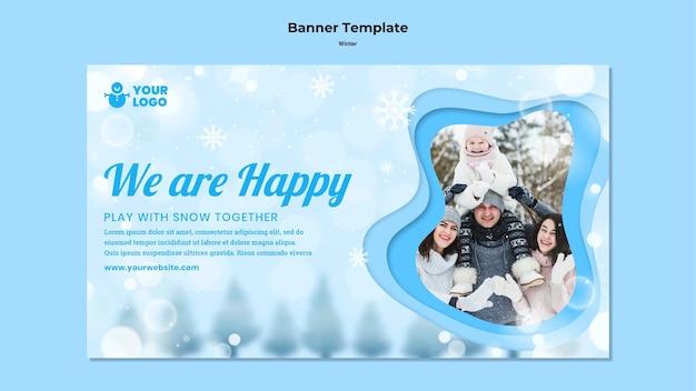 Banner de modelo de anúncio de inverno para a família