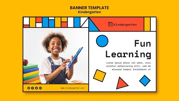 Banner de modelo de anúncio de jardim de infância