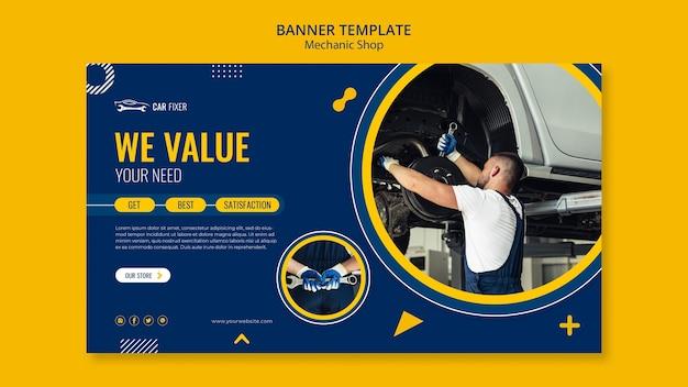 Banner de modelo de anúncio de oficina mecânica
