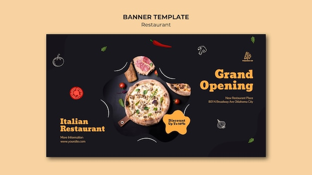 Banner de modelo de anúncio de restaurante italiano