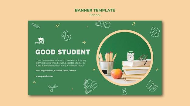 Banner de modelo de anúncio de volta às aulas