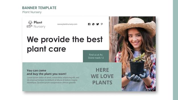 Banner de modelo de anúncio em viveiro de plantas