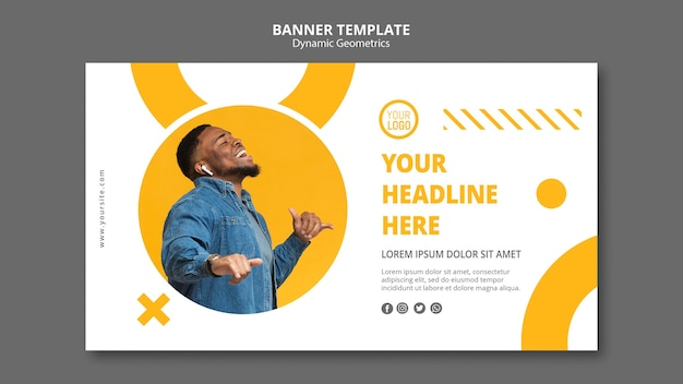 Banner de modelo de anúncio empresarial minimalista