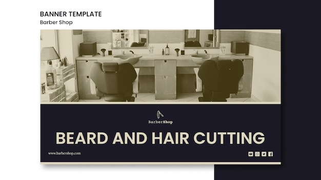 Banner de modelo de barbearia com foto