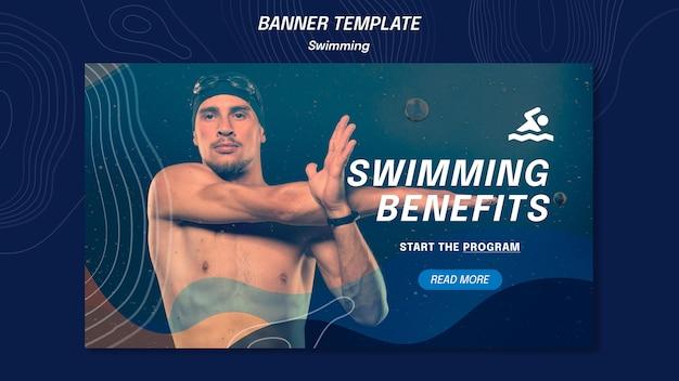 Banner de modelo de benefícios de natação