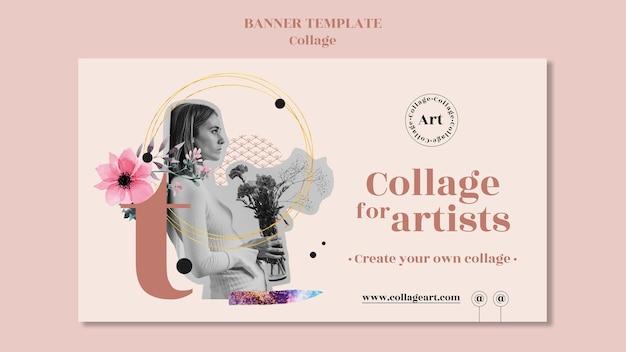 Banner de modelo de colagem para artistas
