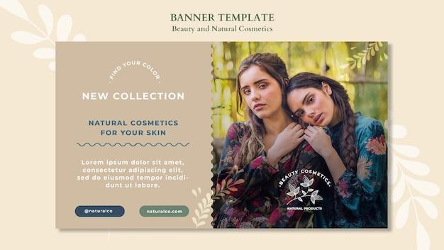 Banner de modelo de cosméticos naturais