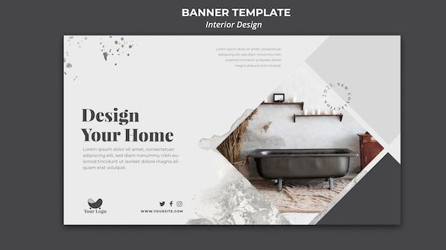 Banner de modelo de design de interiores