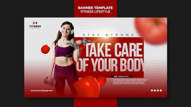 Banner de modelo de estilo de vida de fitness