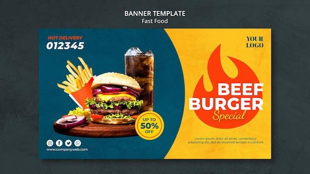 Banner de modelo de fast food