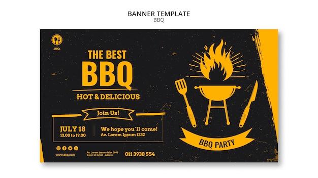 Banner de modelo de festa de churrasco