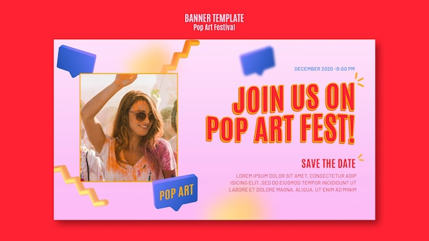 Banner de modelo de festival de pop art
