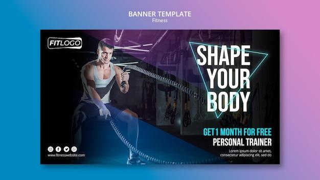 Banner de modelo de instrutor de fitness