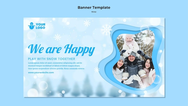 Banner de modelo de inverno para a família