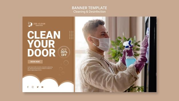 Banner de modelo de limpeza e desinfecção
