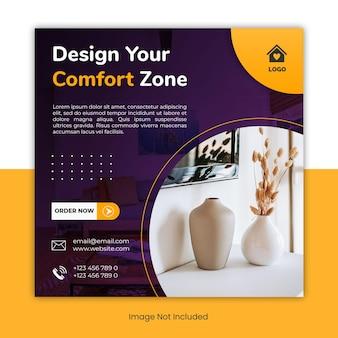 Banner de modelo de postagem de mídia social de design de interiores para casa