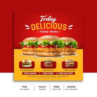 Banner de modelo de postagem em mídia social para hambúrguer com menu de fastfood