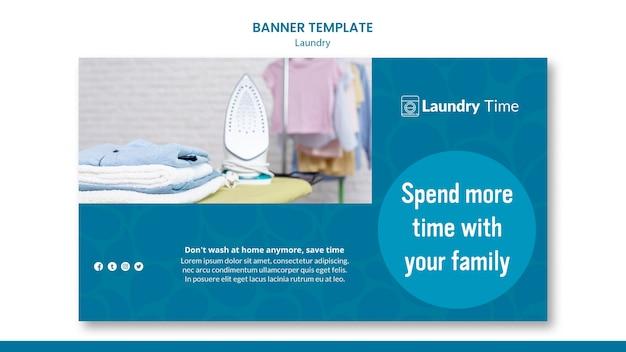 Banner de modelo de serviço de lavanderia