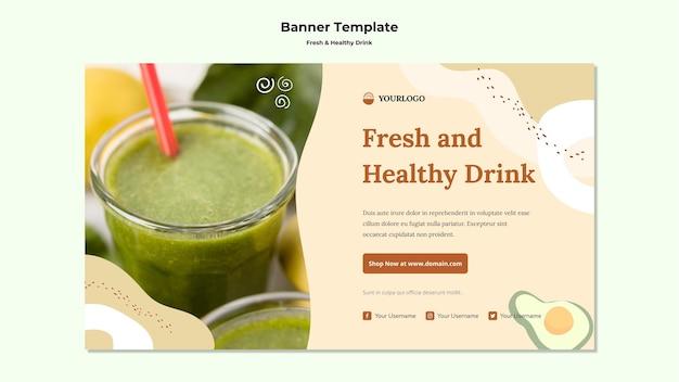 Banner de modelo de suco de fruta