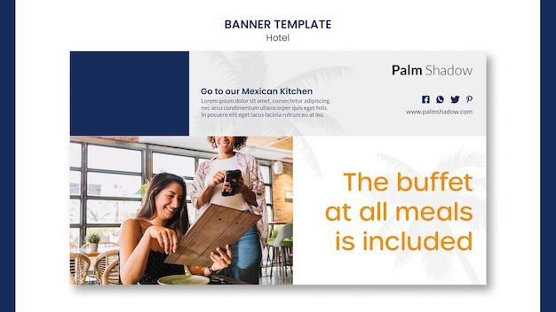 Banner de modelo promocional de hotel