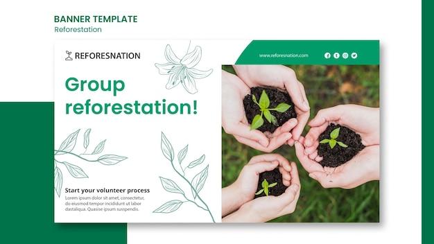 Banner de modelo promocional de reflorestamento