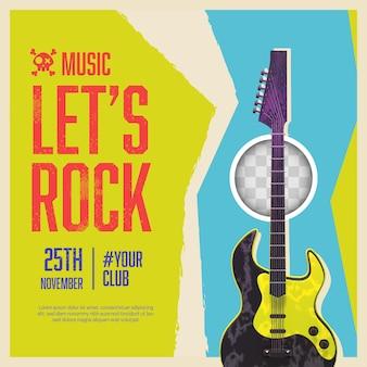 Banner de música rock com fundo abstrato
