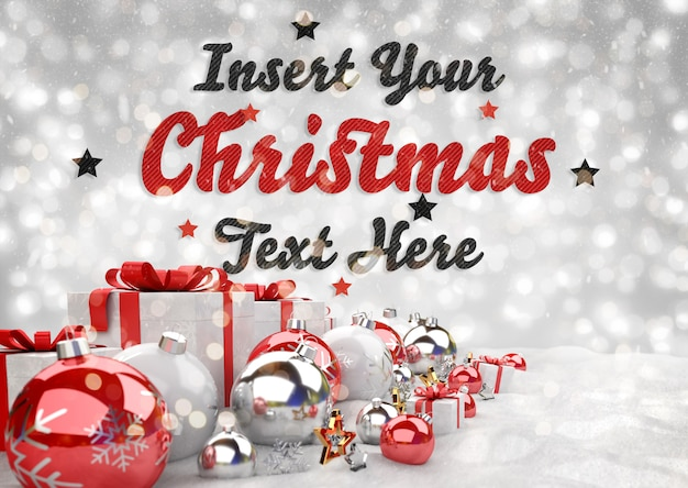 Banner de natal com enfeites de texto e vermelho