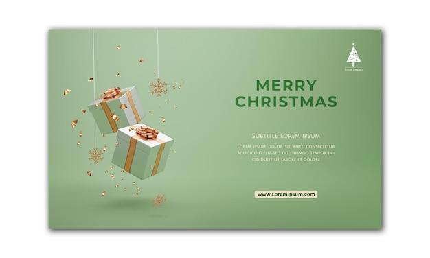 Banner de natal. projeto de natal de fundo da caixa de presentes. cartaz de natal horizontal, cartão de felicitações, cabeçalhos para o site. renderização 3d.