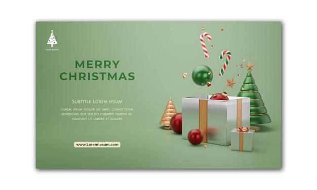 Banner de natal. projeto de natal de fundo de bola de árvore de natal. cartaz de natal horizontal, cartão de felicitações, cabeçalhos para o site. renderização 3d.