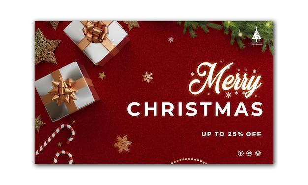 Banner de natal. projeto de natal de fundo de caixa de presentes 3d render. cartaz de natal horizontal, cartão de felicitações, cabeçalhos para o site