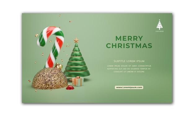 Banner de natal. projeto de natal de fundo de caixa de presentes, bola de árvore de natal e doces. cartaz de natal horizontal, cartão de felicitações, cabeçalhos para o site. renderização 3d.
