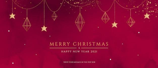 Banner de natal vermelho e dourado com enfeites elegantes