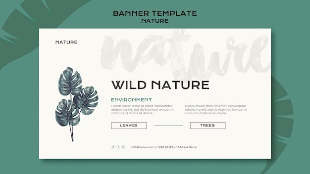 Banner de natureza selvagem com folhas
