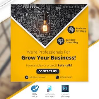 Banner de negócios de mídia social de negócios de marketing