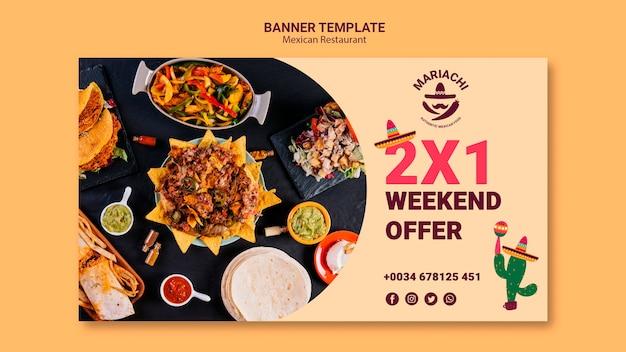 Banner de oferta de fim de semana de restaurante mexicano