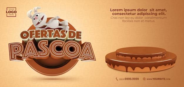 Banner de oferta de páscoa no brasil 3d render com coelho